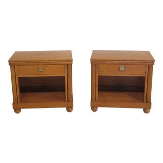 Hickory White Regency Satinwood 1 Drawer Nightstands- A Pair For Sale