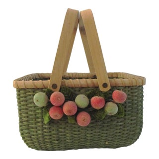Mid-Century French Country Handled Basket with Fruit For Sale