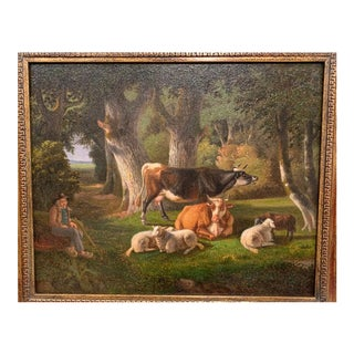 Unknown 19th Century French Sheep Painting on Board in Carved Gilt Frame Circa 1880 For Sale