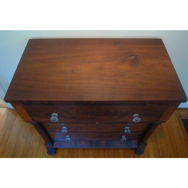 Empire 19thC Antique Burl & Walnut Empire Chest of Drawers For Sale - Image 3 of 12