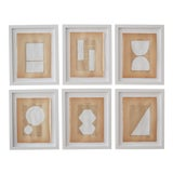 Image of Josh Young Design House Blanc Géométrique Collection Paintings - 6 Pieces For Sale