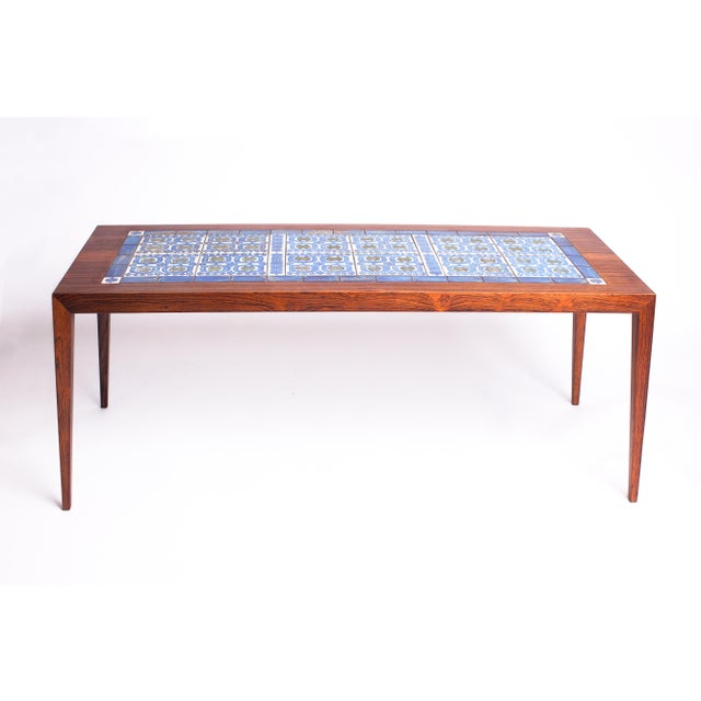 Boho Chic 1960s Severin Hansen Danish Modern Rosewood with Ceramic Tiles Coffee Table For Sale - Image 3 of 8