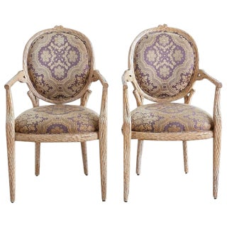Pair of Italian Carved Faux Bois Fauteuil Armchairs For Sale
