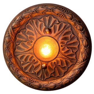 Belgian Wooden Flush Mount Light For Sale