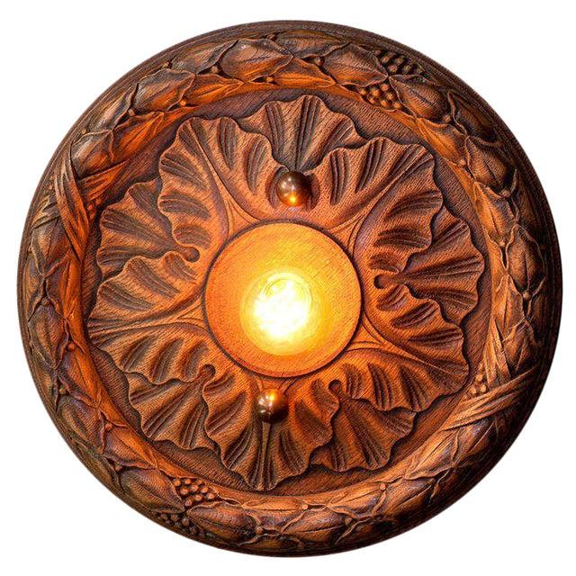 Belgian Wooden Flush Mount Light For Sale
