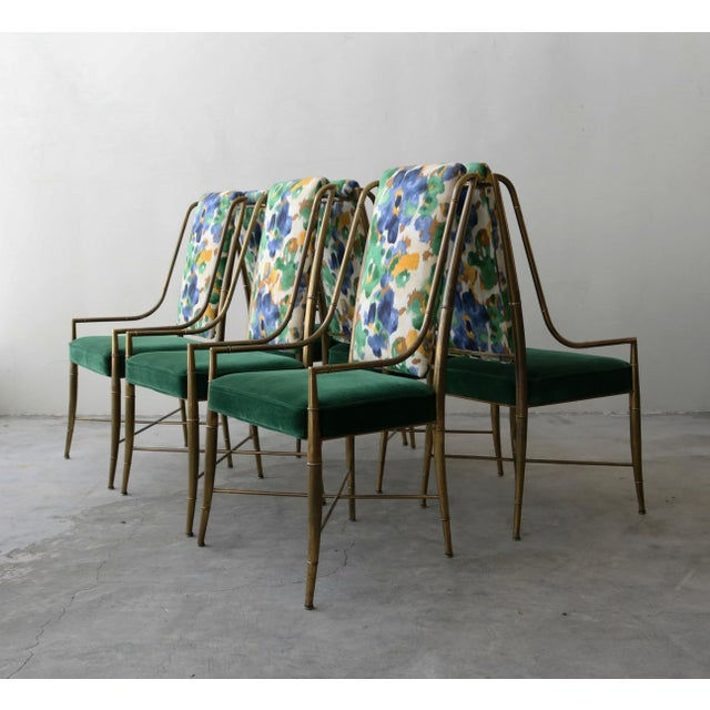 """Art Deco Set of 6 Solid Brass Faux Bamboo """"Imperial"""" Dining Chairs by Mastercraft For Sale - Image 3 of 8"""