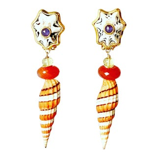 Mitra and Gemstone Earrings For Sale