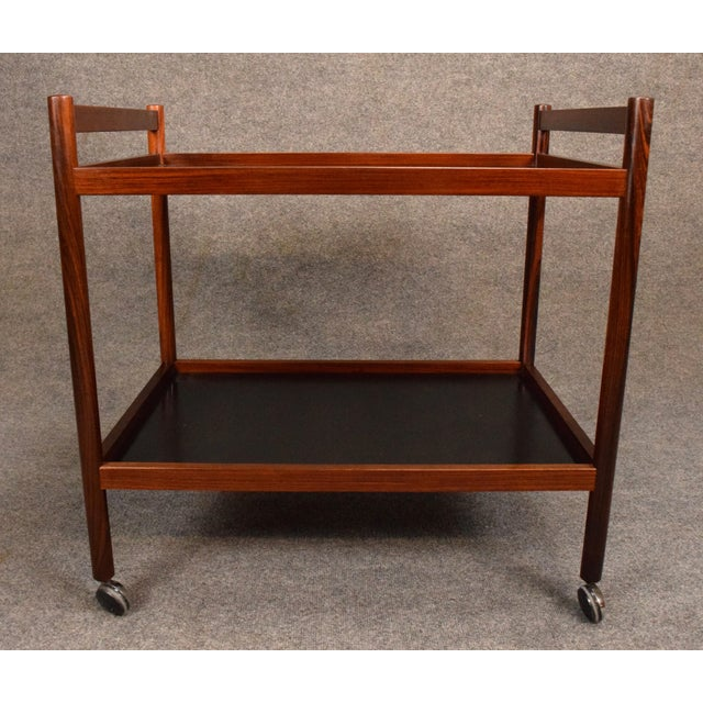 1960s Danish Modern Rosewood Cocktail Bar Cart For Sale In San Diego - Image 6 of 8
