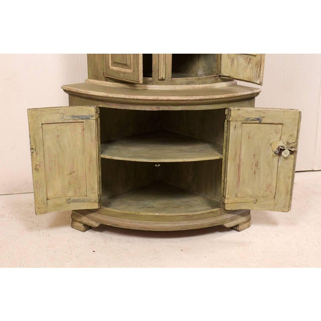 18th Century Antique Gustavian Swedish Painted Wood Corner Cabinet For Sale - Image 10 of 12