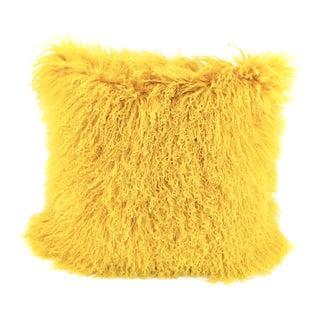 Yellow Mongolian Sheepskin Pillow by Tasha Tarno For Sale