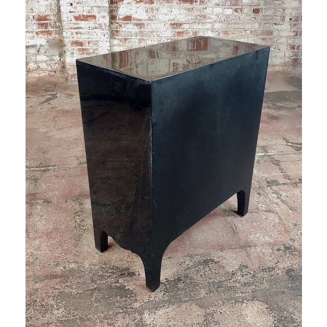 Gold Bull Horn Veneer & Black Lacquer Beautiful 3 Draws Commode For Sale - Image 8 of 9