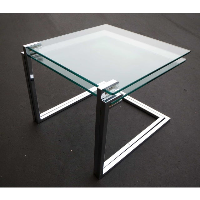 Vintage Modern Glass Chrome Nesting Tables - Pair - Image 2 of 5