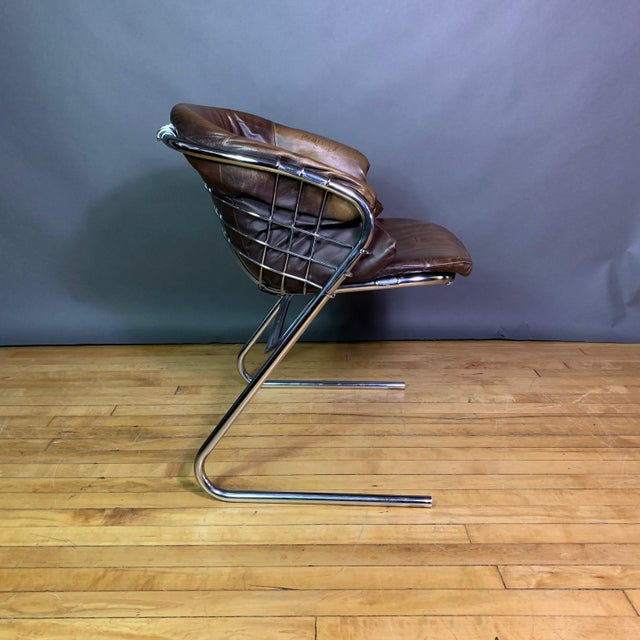 Gaston Rinaldi 1970s Leather Wireframe Armchair, Rima Italy For Sale In New York - Image 6 of 12