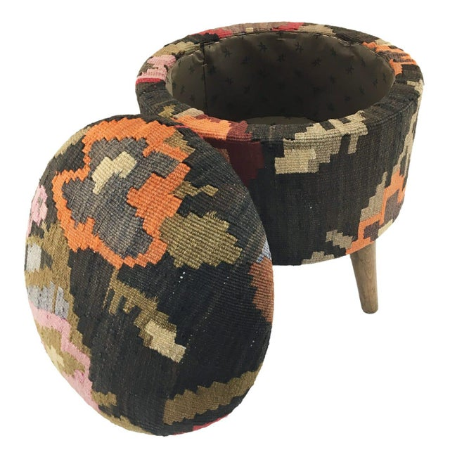 Boho Chic One-Of-A-Kind Kilim Pouf | Ottoman With Storage For Sale - Image 3 of 4