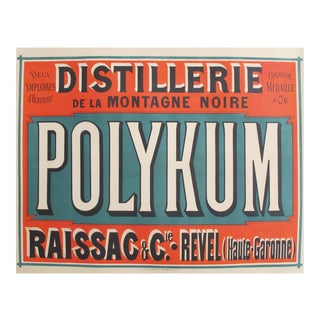 1910s French Vintage Alcohol Ad, Distillery Polykum For Sale