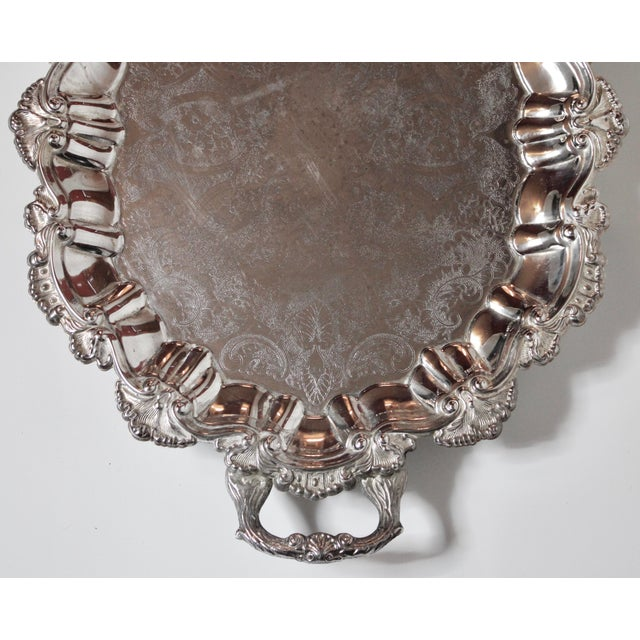 Metal Early 20th Century Ornate French Silver Plate Footed Serving Tray With Handles For Sale - Image 7 of 10