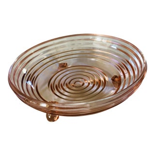 """1930s Vintage Hocking Glass """"Manhattan"""" Pink Depression Glass Open Candy Dish For Sale"""