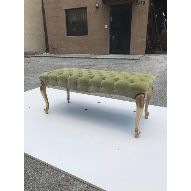 French 19th Century Louis XV Benches With Green Velvet. For Sale - Image 12 of 13