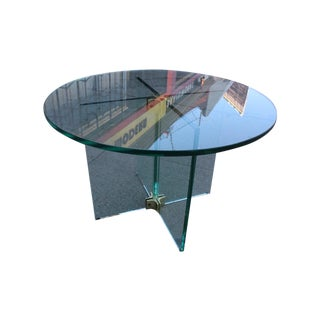 Pace Collection Round All Glass X-Base Side Table
