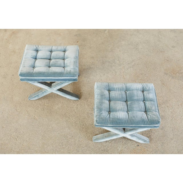 Pair of Billy Baldwin Style X Base Tufted Blue Velvet Benches For Sale - Image 9 of 13