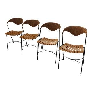 Arthur Umanoff Rush Back & Birch Slated Dining Chair - Set of 4