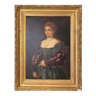 19th Century Large Portrait Painting of a Duchess in Proper Attire For Sale