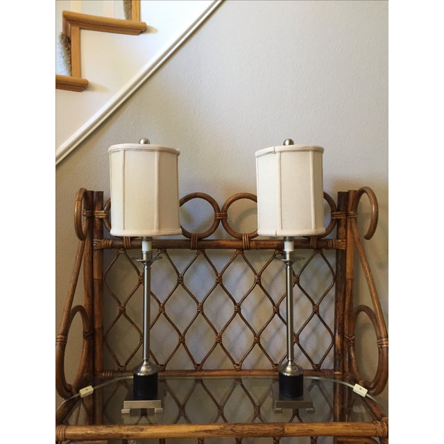 Candlestick Style Lamps - A Pair - Image 2 of 5