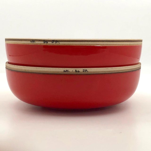 Asian Bo Jia Red Terrain Bowls - a Pair For Sale - Image 3 of 11