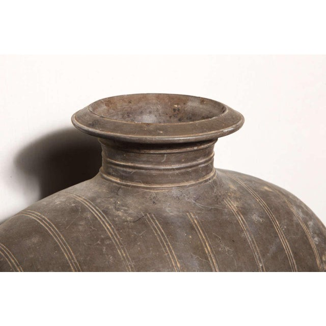 Asian Western Han Dynasty Terracotta Cocoon Jar with Incised Bands from China For Sale - Image 3 of 8