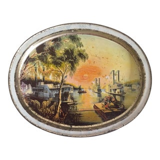 Vintage 1978 Mid Century Mississippi River Lithograph Sunshine Biscuit Collector's Tin Metal Oval Serving Tray For Sale