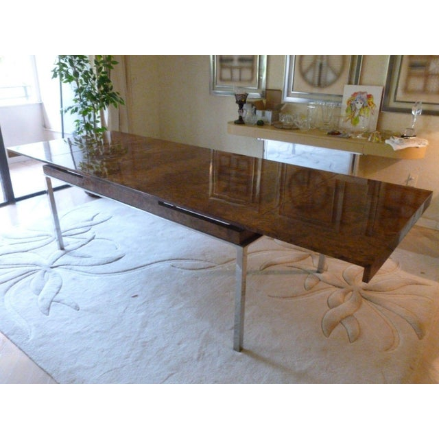 Brown 1970's Vintage Milo Baughman Style Burl-wood & Chrome Dining Table For Sale - Image 8 of 13