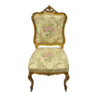 1900s Antique French Victorian Louis XV Style Gold Gilt Accent Side Chair For Sale