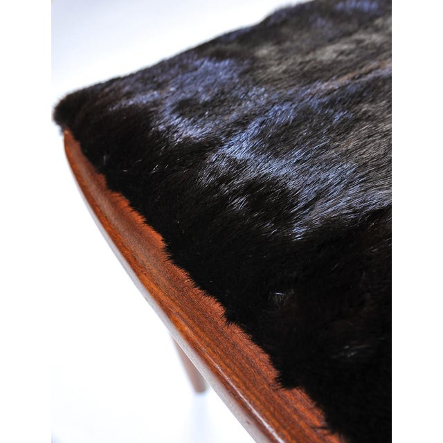 Mid-Century Modern Mid-Century Modern Fur Covered Footstool For Sale - Image 3 of 5