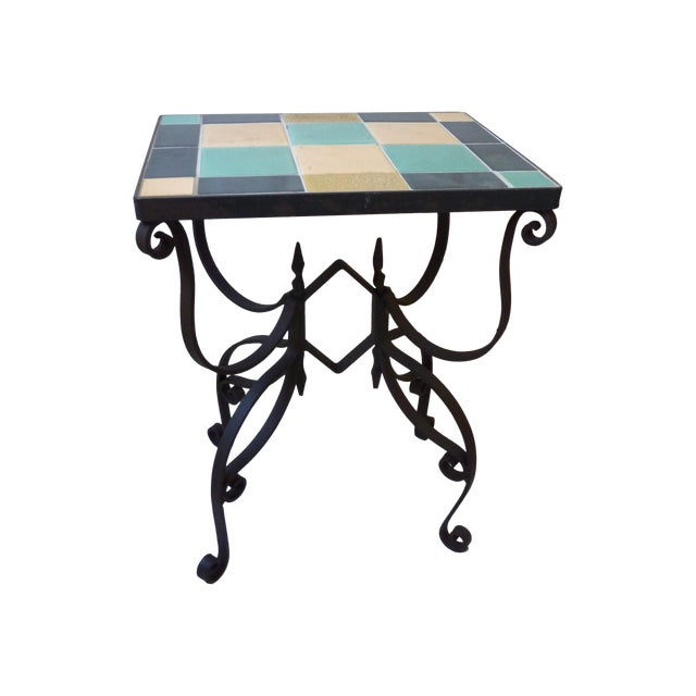 Mid-Century Wrought Iron & Tile Side Table For Sale