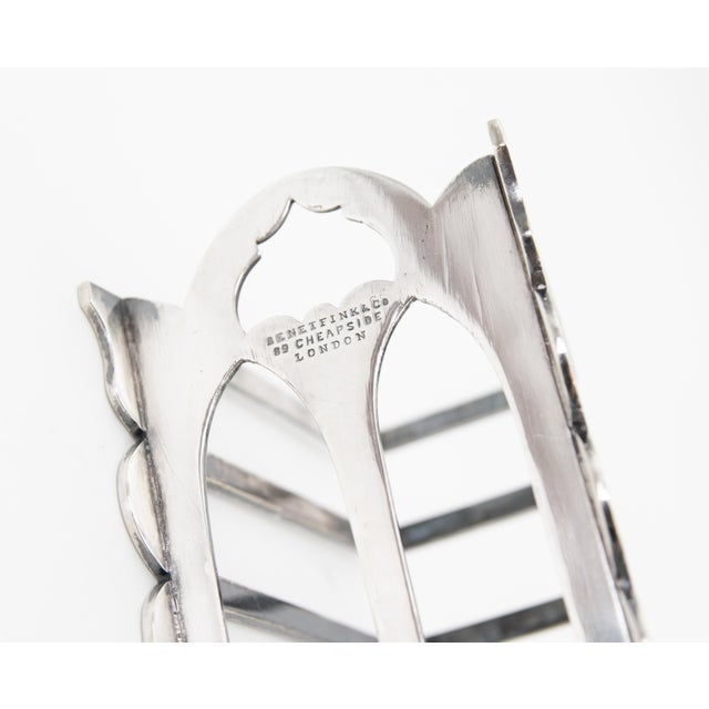 1900 - 1909 Antique English Art Deco Silver Plate Toast Rack For Sale - Image 5 of 6