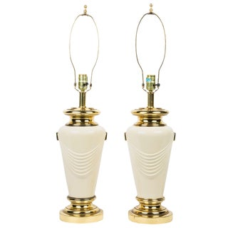 Neoclassical Style Brass Drape Table Lamps For Sale