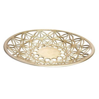 1950s Mid Century Intricate Cut Out Design Solid Brass Bowl For Sale