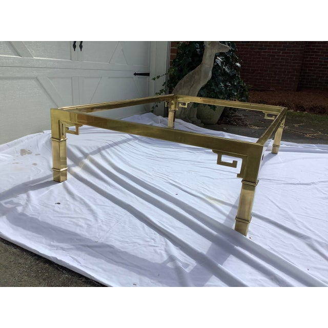 1970s Mastercraft Brass Coffee Table W/ Greek Key Design For Sale - Image 5 of 7