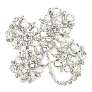 Reja Rhodium & Sterling Cut Crystal Four Leaf Clover Brooch, 1940s For Sale