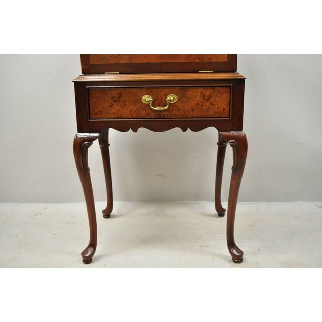 Hickory Chair Co. Mahogany & Burlwood Queen Anne Silverware Silver Chest For Sale - Image 4 of 13