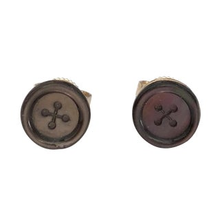 Victorian 14k Gold Carved Shell Button Form Stud Earrings For Sale