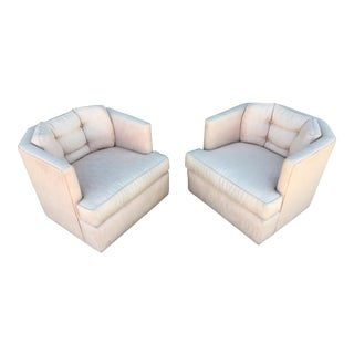 1990s Mid-Century Modern Blush Pink Swivel Club Chairs - a Pair