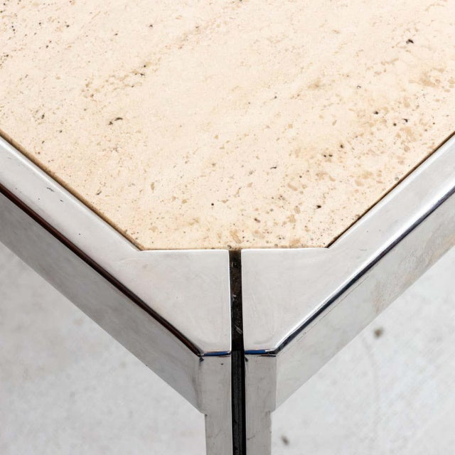 20th Century Travertine and Nickel Dining/Games Table For Sale In New York - Image 6 of 10