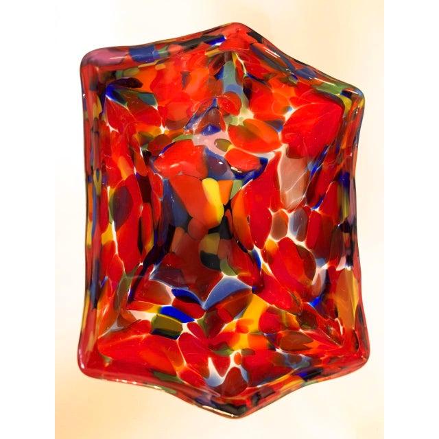 Vintage Kralik Czech Bohemian Art Glass candy or nut dish featuring a hexagonal shape, and a vibrant red, cobalt blue,...