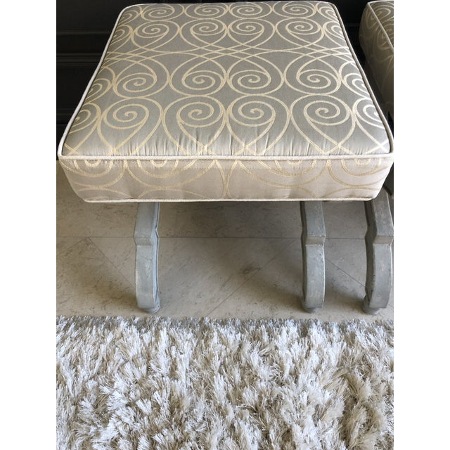 French Transitional X Benches With Baker Upholstery - a Pair For Sale - Image 3 of 9