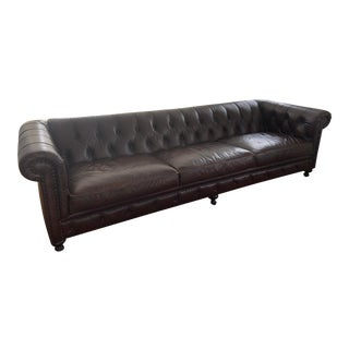 Bernhardt Leather Chesterfield Sofa For Sale