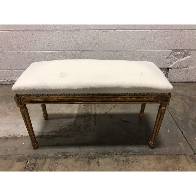 Mid 20th Century Vintage Louis XVI Upholstered Giltwood Bench For Sale - Image 5 of 5