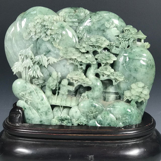 Chinese Art Carved Green Jade Mountain With People - Image 7 of 11