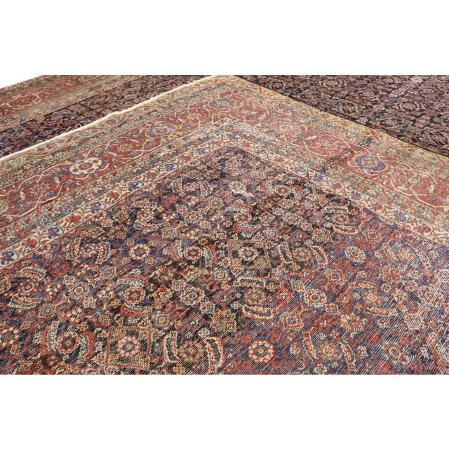 1900 - 1909 Early 20th Century Antique Mahal Rug - 12′3″ × 16′4″ For Sale - Image 5 of 7