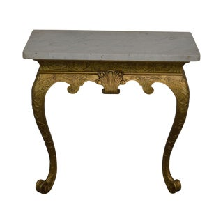 Georgian Style Antique 19th Century Giltwood Marble Top Console For Sale